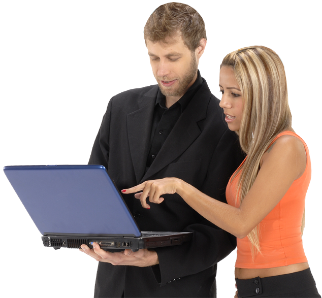 Woman helping man use computer