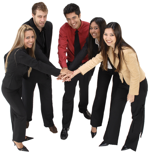 team of coworkers with hands in