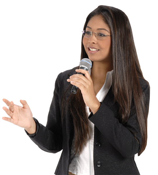 Woman speaking with microphone