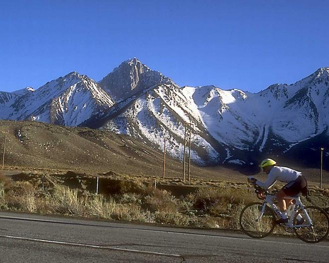 Person cycling uphill