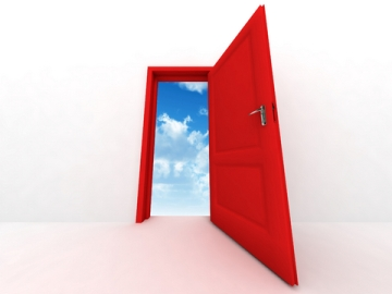 Opened door to sky, limitless concept