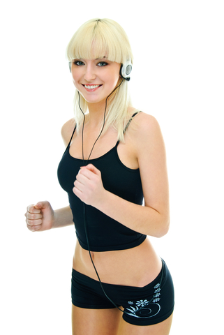 fitness girl listening to music
