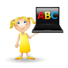 young girl holding laptop illustration