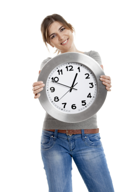 woman holding out a clock