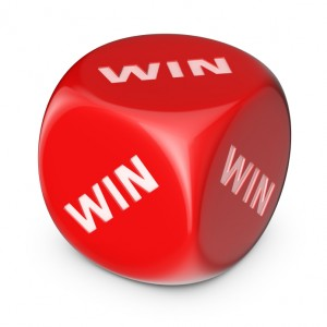 Win-win concept. Big red dice with options