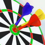 Dartboard with 3 bullseyes