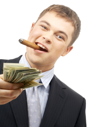 young man smoking cigar holding cash