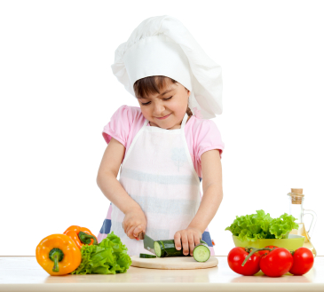 Young chef girl preparing healthy food over