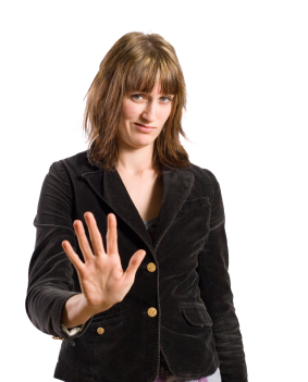 Woman saying no with her hand